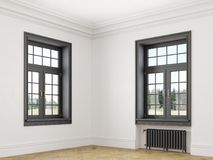 Classic scandinavian white empty interior with windows, parquet and heating batteries. Corner view. vector illustration
