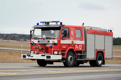 Classic Scania Fire Truck on the Road Royalty Free Stock Images