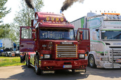Classic Scania 143H Blows Steam Through Pipes royalty free stock images