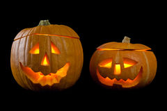 Classic scary faces halloween Pumpkins with fire flames, lights. isolated. Stock Image