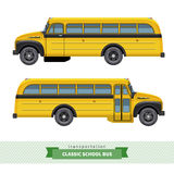 Classic school bus side view. Classic yellow school bus side view. Two views from driver door and passengers door. Vector isolated illustration Royalty Free Stock Images