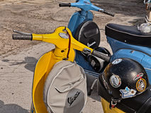 Classic scooter Vespa with spare wheel Stock Images
