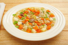 Classic Scotch Broth Vegetable Soup Bowl Stock Photography