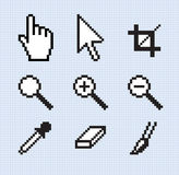 Classic screen tools. Illustration of some old-school screen tool icons. On a separate screen mesh background Stock Photography