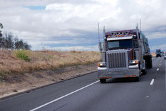 Classic semi truck rig with custom detail tuning Stock Images