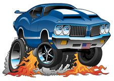 Classic Seventies American Muscle Car Hot Rod Cartoon Vector Illustration. Awesome classic 1970s classic muscle car dragster vector cartoon illustration, flaming royalty free illustration