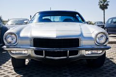 Classic seventies car. Close view of an American classic seventies car parked Stock Image
