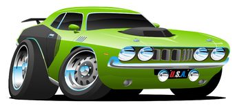 Classic Seventies Style American Muscle Car Cartoon Vector Illustration. Hot American 1970's style muscle car cartoon. Bright green with, aggressive vector illustration