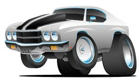 Classic Seventies Style American Muscle Car Cartoon Vector Illustration. Hot American 1970's style muscle car cartoon. Silver with black stripes stock illustration