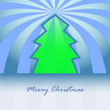 Classic shape green christmas tree and stripes Stock Photo