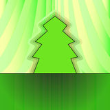Classic shape tree on green curtain Royalty Free Stock Photo