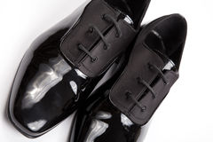 Classic shiny black men's shoes Royalty Free Stock Images