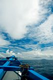 Classic ship under clouds. With blue sky Stock Photos