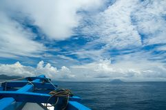 Classic ship under clouds. With blue sky Stock Photography