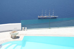 Classic ship. A classic ship viewed from a hotel in Firostefani village, Santorini, Greece Stock Photography