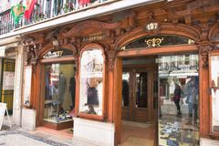 Classic shop in Lisbon - Portugal. The wooden classic shop window in Lisbon - Portugal Royalty Free Stock Images