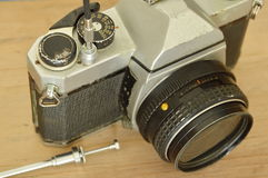 Classic shutter cable released operated on film camera ready to shooting Stock Photo