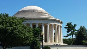Classic Side View of Jefferson Memorial in Morning  –  Washington, D.C. American  historic landmark - Thomas Jefferson building on sunny day Stock Image