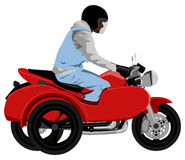 Classic sidecar motorcycle with rider side view graffiti style isolated illustration. Color classic sidecar motorcycle with rider wearing sleeveless jeans jacket Royalty Free Stock Image