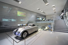 Classic silver BMW 328 race car on display in BMW Museum Royalty Free Stock Photo