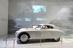 Classic silver BMW 328 race car on display in BMW Museum Royalty Free Stock Image