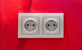 Free Classic Simple European Eu Double Electrical Outlet, 220W Sockets On The Wall, Socket Object Detail, Macro, Closeup, Front View Royalty Free Stock Photos - 216993928