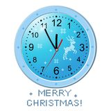 Classic simple wall round clock. Figure bright, Christmas isolated on white background. Print the deer, snowflake. Vector. Illustration Stock Photos