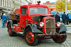 Classic Sisu fire truck. A classic fire truck from the Finnish car maker Sisu on display in a classic car fair Royalty Free Stock Images