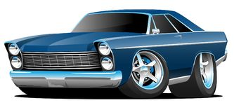 Classic Sixties Style Big American Muscle Car Cartoon Vector Illustration. Hot American 1960's style big muscle car cartoon. Sharp blue, aggressive stance royalty free illustration