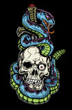 Snake, skull and dagger tattoo Stock Image