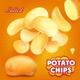 Classic salted potato chips advertising, 3d illustration. Classic sliced salted potato chips advertising, 3d illustration Royalty Free Stock Image