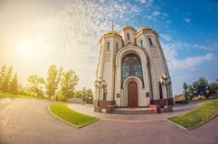 Classic small modern church in Russia. distortion perspective fisheye lens stock photography