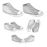 Classic sneaker sketched. Vector, fully editable. Set of sport shoes or sneakers icons in different views. Footwear and lace, clothing and street style Stock Photos