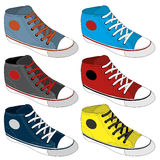 Classic sneaker sketched. Vector, fully editable. Set of sport shoes or sneakers icons in different views. Footwear and lace, clothing and street style Stock Images
