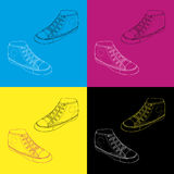 Classic sneaker sketched, Vector. Classic sneaker sketched. Vector, fully editable. Set of sport shoes or sneakers icons in different views. Footwear and lace Stock Photography