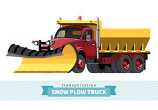 Classic snow plow heave duty truck front side view Royalty Free Stock Photography
