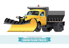 Classic snow plow truck front side view stock illustration