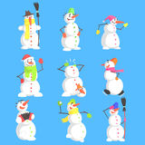 Classic Snowmen Made Of Three Snowballs Character Set Stock Photo