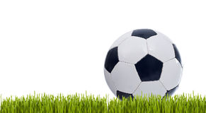 Classic soccer ball on grass stock images