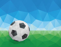 Classic Soccer Ball, Green Grass and Blue Sky Royalty Free Stock Photography