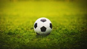 Free Classic Soccer Ball, Typical Black And White Hexagon Pattern, Placed On The Green Grass Stadium Turf. Traditional Football Playing Stock Photography - 216316702