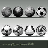Classic soccer balls. Engraved collection  object Royalty Free Stock Images