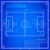 Classic soccer of football pitch measurements. Soccer or football field measurements. Blueprint technical drawing vector background Stock Photo
