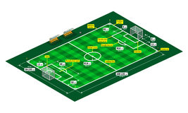 Classic soccer or football pitch measurements. Soccer or football field measurements. Isometric view drawing vector background with dimensional lines and marks Royalty Free Stock Photos
