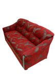 Classic sofa. Classic designed, completely covered by high quality red-grey textile. Decorative oak wood application Stock Photography