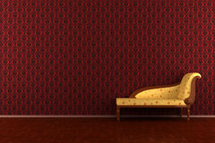 Classic sofa in front of red wall Royalty Free Stock Photography