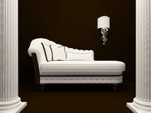 Classic sofa in the middle of pillars. Ancient Stock Illustration