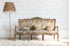 Classic sofa style and lamp in vintage room royalty free stock photos