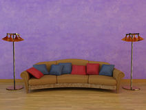 Classic sofa with two lamps. Rendered image of a classic sofa, some cushions, two lamps and stucco background Stock Photo