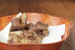 Classic spanish tapas: fried pork nose. Royalty Free Stock Images